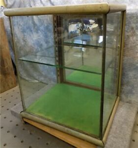 Wood Nickel Plated Brass Glass Vintage Showcase General Store Counter Display L