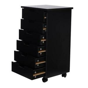 6 drawer Wood Filing File Cabinet Mobile Storage Roll Cart Home Office Furniture
