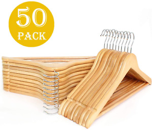 Ihangers Wooden Hangers Smooth Finish Solid Wood With Non slip Pants Bar 360 Deg