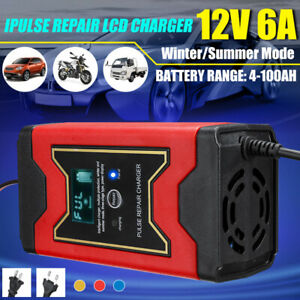 Dc 12v 4ah 100ah Lcd 6a Automotive Smart Battery Charger Maintainer Auto