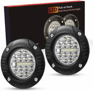 Led Work Light Bar Flush Mount Round 5 Inch Fog Driving Off Road Lights 48w 2pc