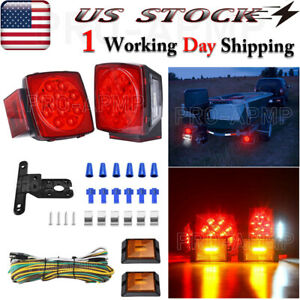 1 Pair Boat Trailer Led Light Kit Submersible Square Stop Turn Tail Lights Red