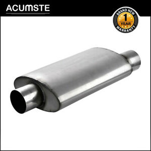 Performance Universal Exhaust Mufflers Silencer Single Offset 3 Inlet 3 Outlet