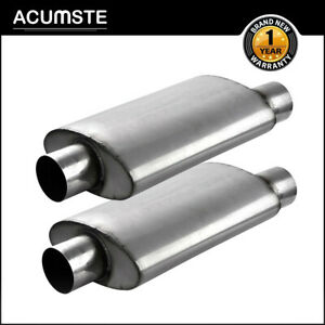 Pair Performance Exhaust Mufflers Silencer Center 3 inlet 3 Outlet 14 Long