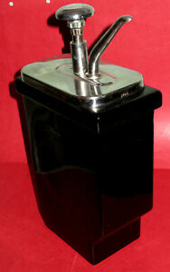 Vintage Hall Syrup Jar W pump Black Porcelain Ice Cream Parlor Soda Fountain