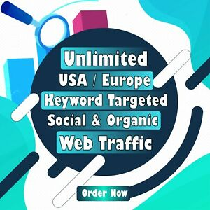 Unlimited American Or Europe Keyword Targeted Or Social Organic Web Traffic