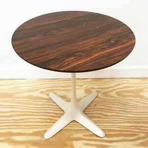 Burke Faux Wood Laminate Top Tulip Side Table Propeller Base Mid Century Modern