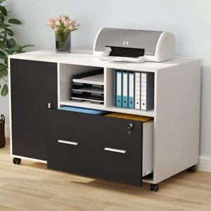 Large File Cabinet W Wheels drawer mobile Lateral Filing Cabinet Printer Stand