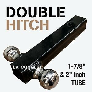 1 7 8 2 Double Hitch Tube Solid Steel Ball Mount Trailer Hitch Receiver