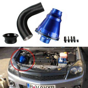 Universal Apollo 70mm Cold Air Intake System Air Filter Kit Blue Auto Car Us