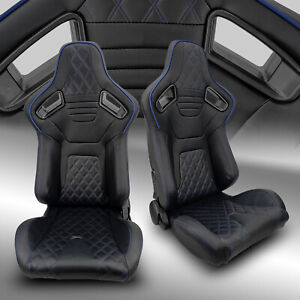 2 X Reclinable Pvc Leather Black Strip Left Right Racing Bucket Seats Slider