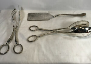 3 Piece Silver Plated Serving Set Salad Tongs Meat Tongs And Spatula China