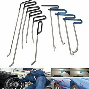 10pcs Auto Body Pdr Tools Push Rods Kit Paintless Dent Repair Hail Removal Tool