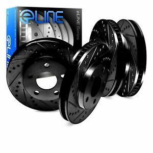 For 2011 2014 Ford Mustang R1 Concepts Front Rear Black Drill slot Brake Rotors