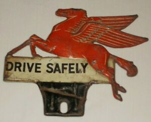 Vintage Mobile Gas Pegasus License Plate Topper Harley Indian Chevy Ford Retro