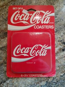 Vintage COCA COLA  coasters RETRO SET OF 6 Cork Backed Red