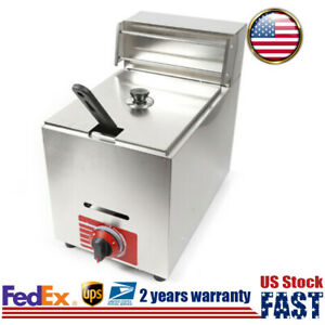 10l Countertop Gas Deep Fryer Commercial Fast Heating W 1 Basket For Kitchen