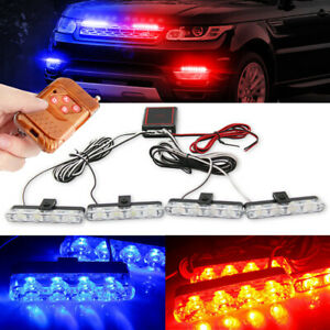 Car 16 Led Red Blue Police Strobe Flash Light Dash Emergency Warning Lamp 12v