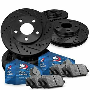 For 2011 2014 Ford Mustang Pbr Axxis Drill slot Brake Rotors ceramic Brake Pads
