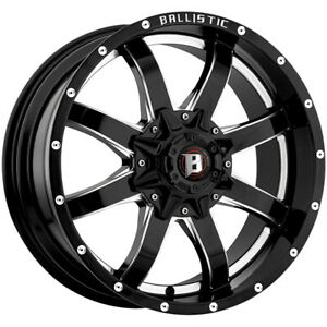 4 new 20 Inch Ballistic 955 Anvil 20x9 8x170 12mm Black milled Wheels Rims