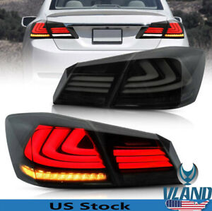 For honda Accord Taillights 2013 2015 Full Led Sequential Drl Smoke Assembly