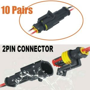 Pro 2pin Way Car Waterproof Male Female Electrical Connector Plug Wire Kit Set