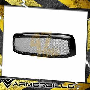Armordillo For 2002 2005 Dodge Ram 1500 Studded Mesh Grille Gloss Black