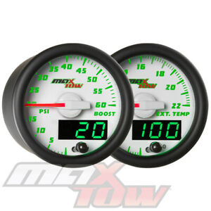 Maxtow 52mm White Double Vision 60psi Boost 2200f Pyrometer Egt Gauge Set