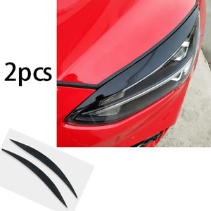 Fit For Ford Focus 2019 2020 Black Abs Front Headlight Lamp Strip Decor 2pcs