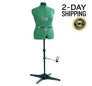 Dress Form Mannequin Professional Sewing Stand Female Size Medium Adjust Green