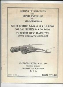 Allis chalmers 10a Series Tractor Disc Harrows Setting Up Directions Manual