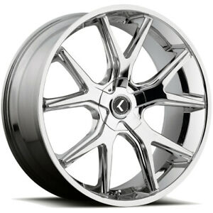 4 kraze Kr146 Spltz 26x10 5x115 5x120 18mm Chrome Wheels Rims 26 Inch
