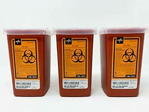 3 X Sharps Container 1 Quart Biohazard Needle Disposal 1 Qt Size Ships Free 3 pk