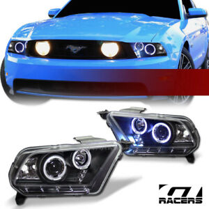 For 2010 2014 Ford Mustang Black Housing Led Halo Projector Headlights Lamps Jy