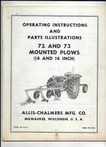Allis chalmers 72 And 73 Mounted Plows Operating Instructions Manual