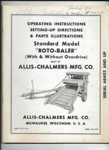 Allis chalmers Standard Model Roto baler Operating Instructions Manual