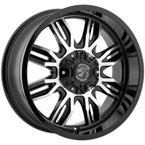 4 20 Inch Panther Offroad 580 20x9 6x135 6x5 5 12mm Black machined Wheels Rims