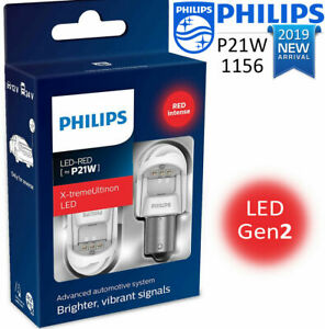 Philips P21w Led Red 1156 X treme Ultinon Gen2 Car Red Stop Signalling Bulbs 12v