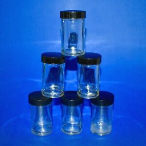 Vintage 2 Oz Glass Specimen Sample Jar 3 Tall Black Phenolic Screw on Lid Lab