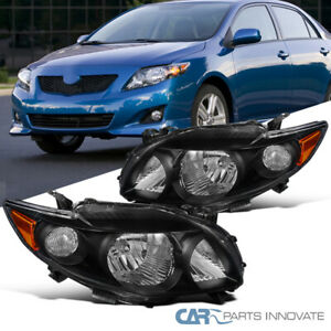 For 09 10 Toyota Corolla Le Xle Xrs S Black Headlights Head Lamps Left right L r