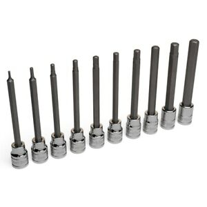 Eastwood 10pc 3 8 Drive Long Metric Hex Bit Set Chrome Vanadium Steel Tools