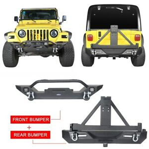 Steel Front rear Bumpers Combo W Tire Carrier For 1997 2006 Jeep Wrangler Tj