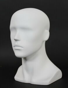 13 5 In H Male Head Mannequin Bust Form Display Mannequin Matte White Mh8 wt