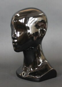 13 In H Female Head Mannequin Bust Form Display Mannequin Glossy Black Mh53 hb