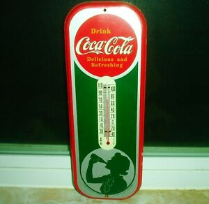 VINTAGE 1984 REPRO OF 1939 COCA COLA THERMOMETER W/SILHOUETTE OF A GIRL - NICE!