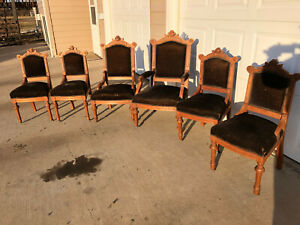 19th Century Victorian Eastlake Style Parlor Chairs Set Of 6 Original