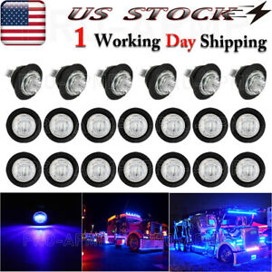 20x 3 4 Marker Lights Blue Led Truck Trailer Round Side Bullet Light 12v Usa