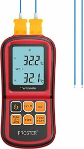 Digital Thermocouple Temperature Thermometer Two K type Probe Backlight Lcd New