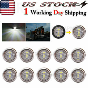 10x White Stainless Base Side Marker Lights 3 4 Bullet Round Clearance Light