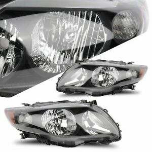 Fits 2009 2010 Toyota Corolla Replacement Headlights Reflector Black Housing